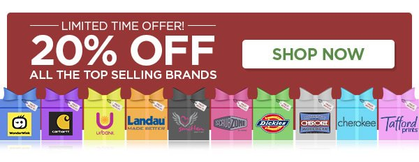 For a limited time, All Top Selling brands are 20% OFF - Shop Now