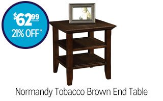 Normandy Tobacco Brown End Table - $62.99 - 21% off‡