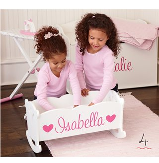 personalized scalloped  sweetheart doll cradle