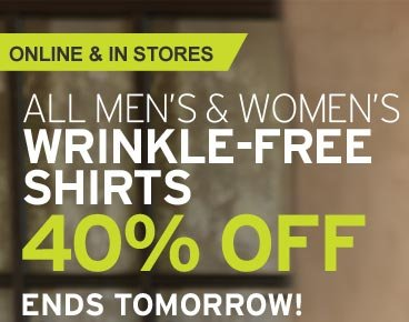 All Wrinkle-Free Shirts 40% Off!
