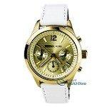 Michael Kors MK5285 Women's Chronograph White Leather Strap Gold Dial Watch