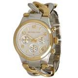 Michael Kors MK3199 Women's Runway Two Tone Twisted Steel Link Bracelet Chronograph Watch