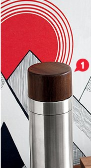 1. brushed stainless steel and wood  cocktail shaker 15.96 reg 19.95