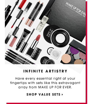 INFINITE ARTISTRY. Have every essential right at your fingertips with sets like this extravagant array from MAKE UP FOR EVER. SHOP VALUE SETS