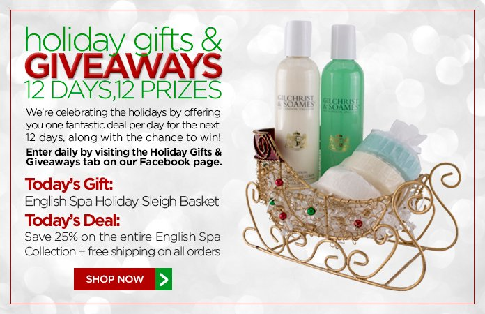 12 Days of Gifts&Giveaways: 25% off our English Spa Collection + free shipping.