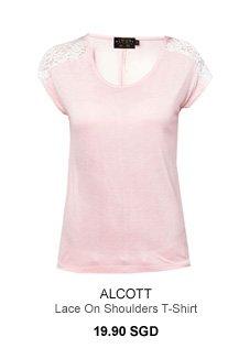 ALCOTT Lace On Shoulders T-Shirt
