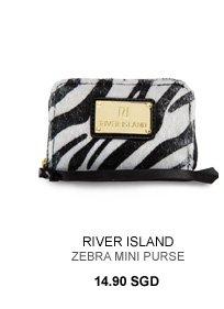 RIVER ISLAND BLACK ZEBRA MINI ZIP AROUND PURSE