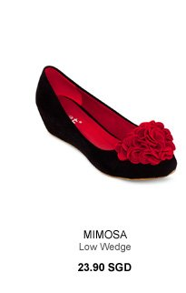 Mimosa - Low Wedge with Flower Embellishment