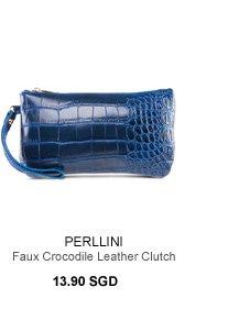 PERLLINI Faux Crocodile Leather Clutch