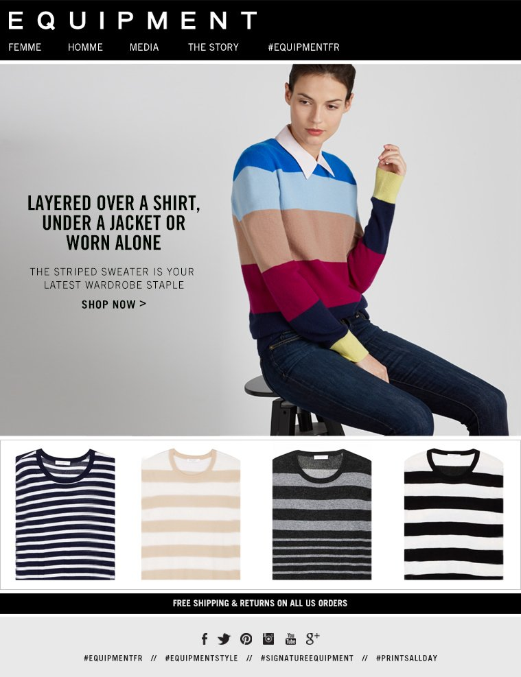 LAYERED OVER A SHIRT, UNDER A JACKET OR WORN ALONE THE STRIPED SWEATER IS YOUR LATEST WARDROBE STAPLE SHOP NOW>