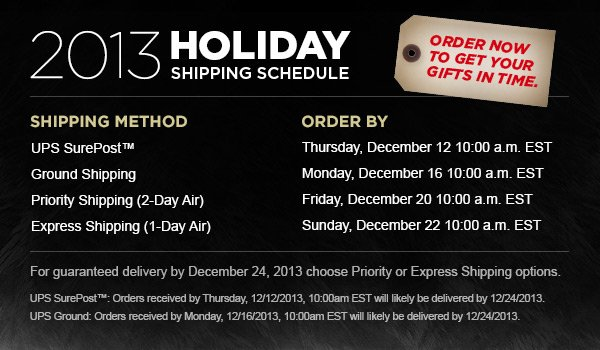 2013 Holiday Shipping Schedule