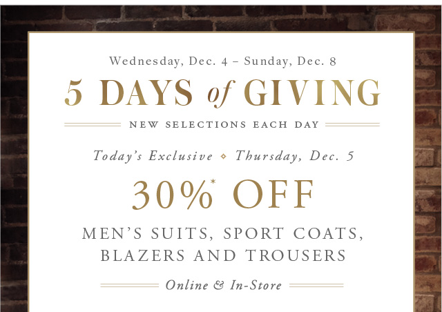 5 DAYS OF GIVING - NEW SELECTIONS EACH DAY