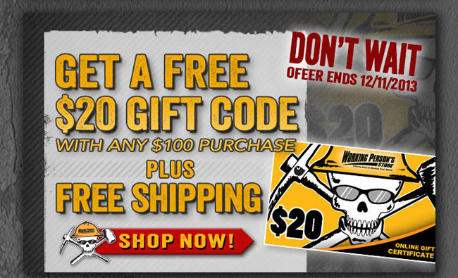 FREE $20 Gift Code with Any $100 Purchase!