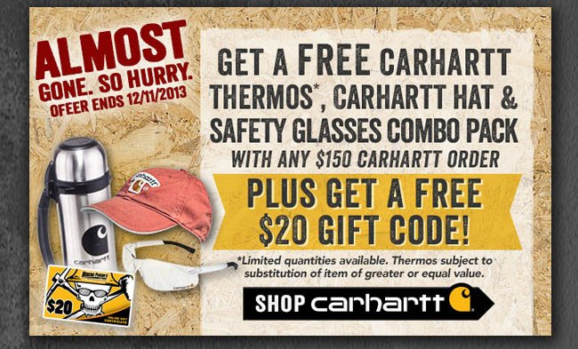 FREE Carhartt Gift Pack + $20 Gift Code With $150 Carhartt Purchase!