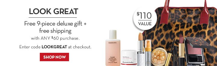 LOOK GREAT. Free 9-piece deluxe gift + free shipping with any $60 purchase. Enter code LOOKGREAT at checkout. SHOP NOW.