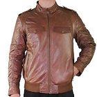 Xelement Mens Cognac Bomber Leather Jacket