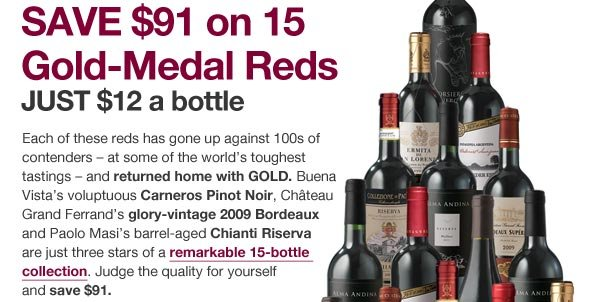Day 4: Save $91 on 15 Gold Medal Reds