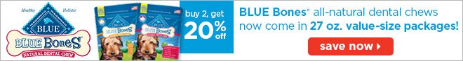 BLUE Bones All-Natural Dental Chews - Save Now