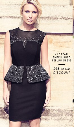 V I P Pearl Embellished Peplum Dress