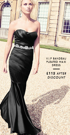 V I P Bandeau Pleated Maxi Dress