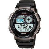 Casio AE1000W-1B Men's Gunmetal Plastic Rubber Strap World Time Illuminator Stop Watch