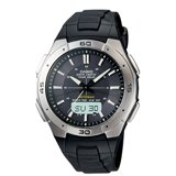 Casio WVA470J-1A Men's Waveceptor Ana-Digi Tough Solar Black Dial Black Rubber Strap Atomic Sport Watch