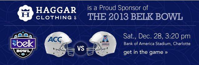 2013 Belk Bowl Sat Dec 28 at 3:20. Get in the game.