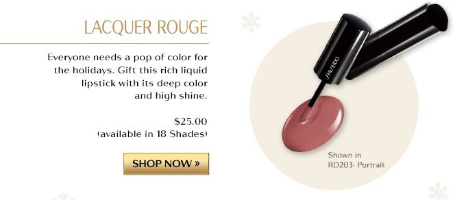 LACQUER ROUGE | EVERYONE NEEDS A POP OF COLOR FOR THE HOLIDAYS. GIFT THIS RICH LIQUID LIPSTICK WITH ITS DEEP COLOR AND HIGH SHINE. $25.00 AVAILABLE IN 18 SHADES. | SHOP NOW »