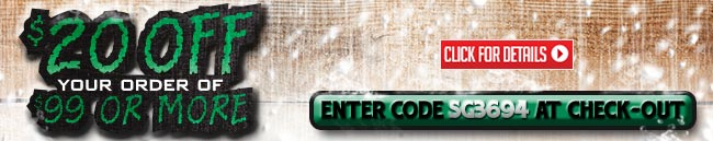 Sportsman's Guide's $20 OFF Your Merchandise Order of $99 or More! Please Enter Coupon Code SG3694 at Checkout. Offer ends Tonight, Friday, 12/06/2013.