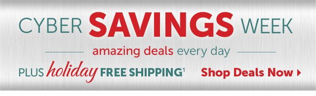 Cyber Savings Week - amazing deals every day - plus holiday Free Shipping1 - Shop Deals Now