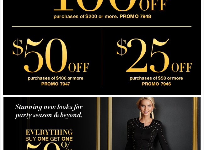 Everything buy one get one 50% off!