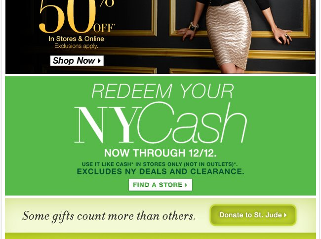 Redeem your NYCash in stores now!