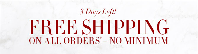 3 Days Left! - FREE SHIPPING ON ALL ORDERS* – NO MINIMUM