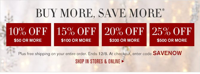 BUY MORE, SAVE MORE* - 10% OFF $50 OR MORE - 15% OFF $100 OR MORE - 20% OFF $200 OR MORE - 25% OFF $500 OR MORE - Plus free shipping on your entire order. Ends 12/8. At checkout, enter code SAVENOW - SHOP IN STORES & ONLINE