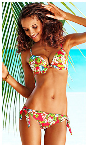 Buffalo Red Floral Print Push-Up Bikini
