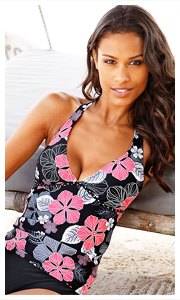 Buffalo Black V-Neck Tankini Top