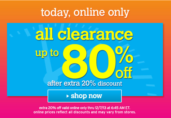 extra 20% off clearance online only