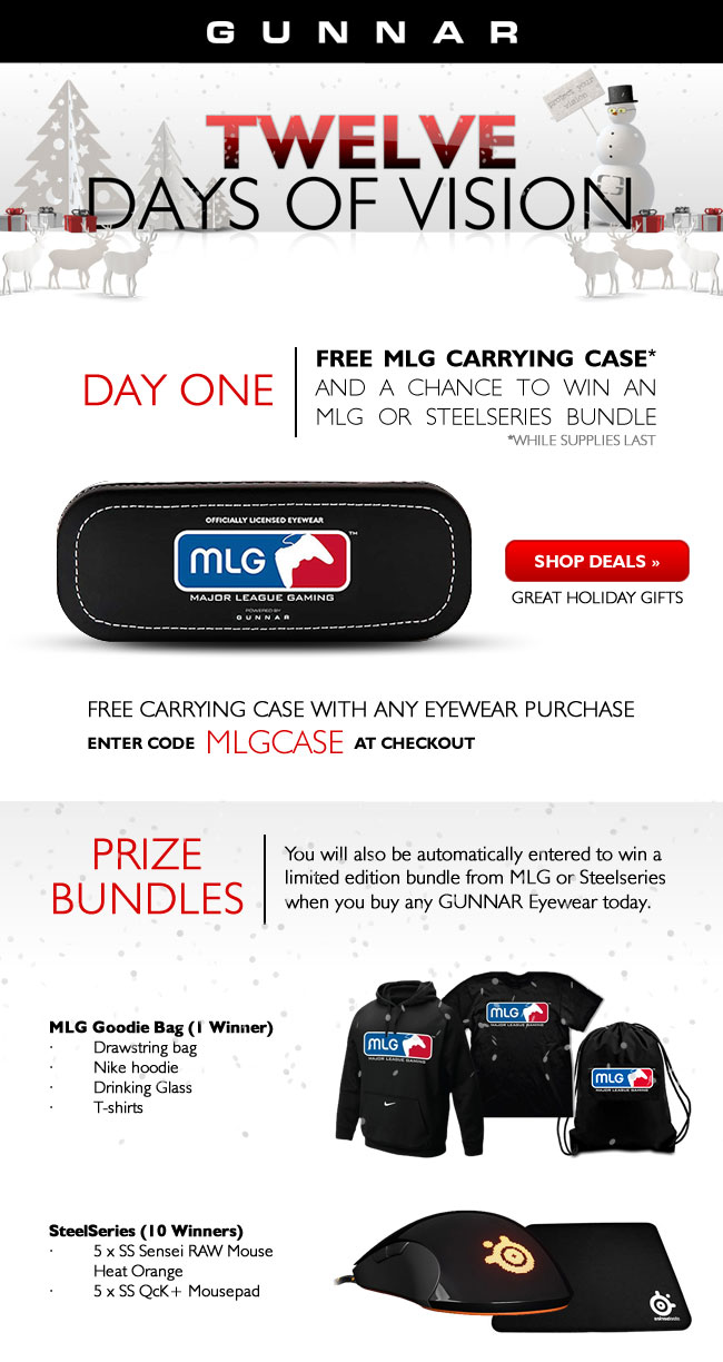 Free MLG Case with GUNNAR Eyewear Purchase and a Chance to Win!