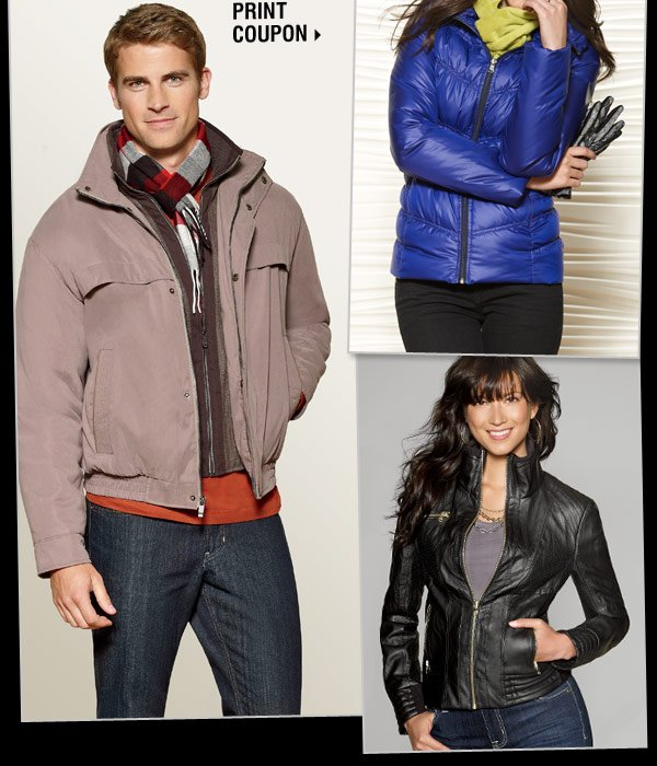 STARTS TODAY! Save $50 when you spend $100  on regular and sale price ladies' and men's coats** Print coupon.