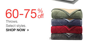 60-75% off Throws. Select styles. SHOP NOW