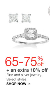 65-75% off + an extra 10% off Fine and silver jewelry. Select styles. SHOP NOW