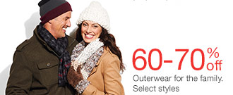 60-70% off Outerwear for the family. Select styles. SHOP NOW