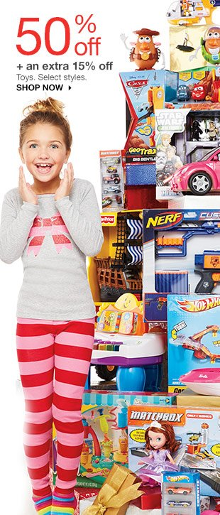 50% off + an extra 15% off Toys. Select styles. SHOP NOW