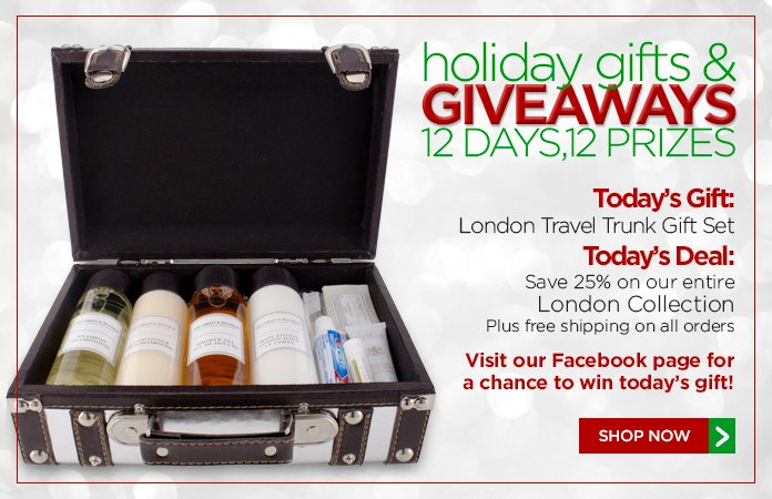 12 Days of Gifts & Giveaways: 25% off our London Collection + free shipping.