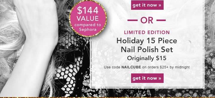 Limited Edition Holiday 15 Piece Nail Polish Set Use Code: NAILCUBE Get It Now!