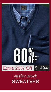 60% Off* Sweaters - Extra 20% Off $149 USD or more