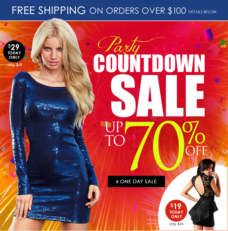 Up to 70% OFF, 1-Day Party Countdown SALE! Shop 1-Day SALE!