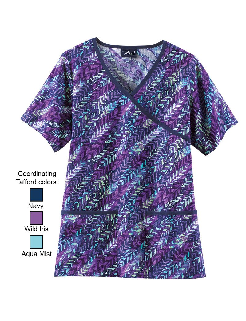Purple Plume Cross Over Scrub Top