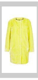 Faux Fur Collarless Coat