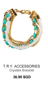 T.R.Y ACCESSORIES Work Collection Crystals Gold Bracelet